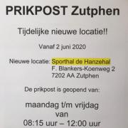 tijdelijke nieuwe locatie prikpost Zutphen